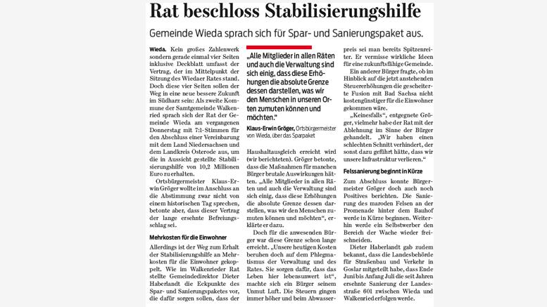 """Leserbrief zum Artikel """"Rat beschloss Stabilisierungshilfe"""" vom 27.02.2016"""